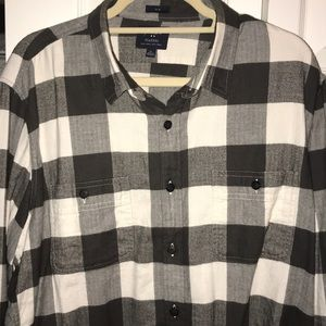 J Crew Men's Flannel Grey/White Size XL